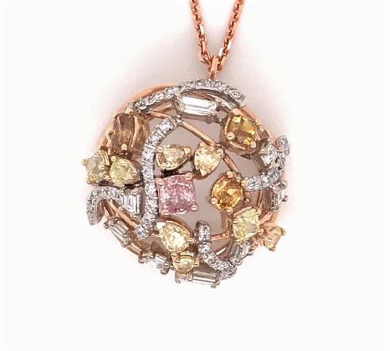 0.28ct Fancy Purplish Pink Diamond Pendant (2.98ct TW)