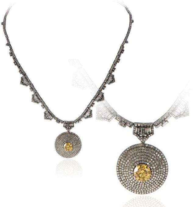 3.20ct Fancy Deep Orange-Yellow Diamond Necklace (13.09ct TW)