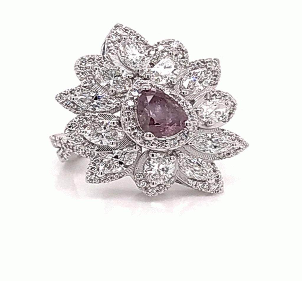 Lady's 1.02ct Fancy Deep Brownish Purple-Pink Diamond Ring (3.30ct TW)
