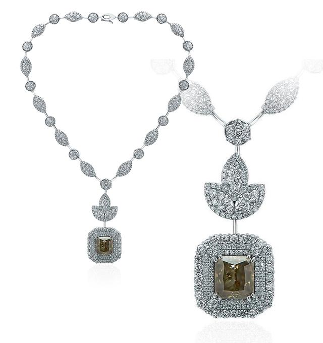 21.16ct Fancy Deep Brownish Yellow Green Diamond Necklace (46.06ct TW)