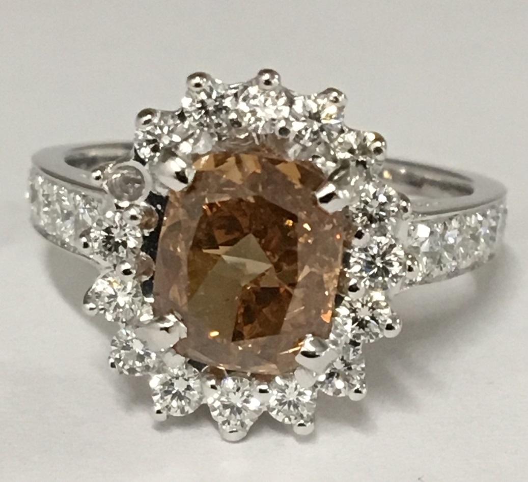 Lady's 2.01ct Fancy Deep Brownish Yellowish Orange Diamond Ring (4.51ct TW)