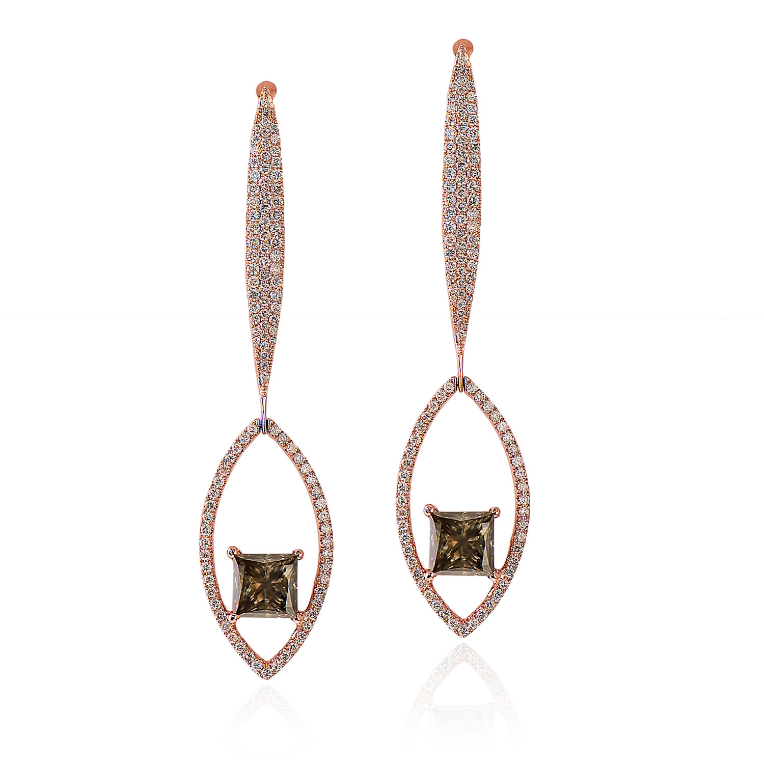 One Pair of 4.27ct TW Fancy Brownish Green Diamond Earrings (6.30ct TW)