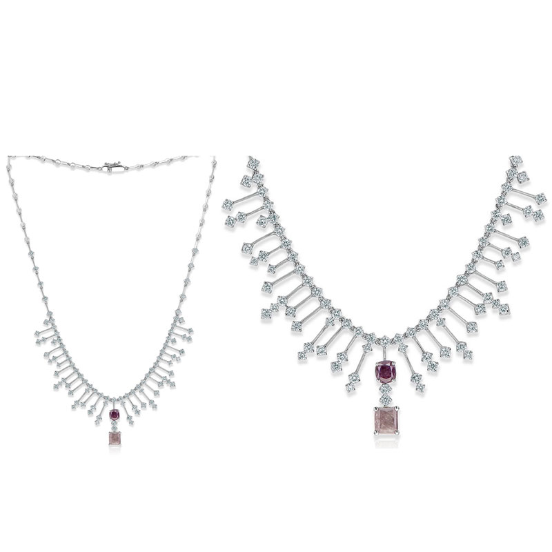 1.50ct Fancy Light Brownish Pink Diamond & 1.43ct Fancy Brownish Purple-Pink Diamond Necklace (10.24ct TW)