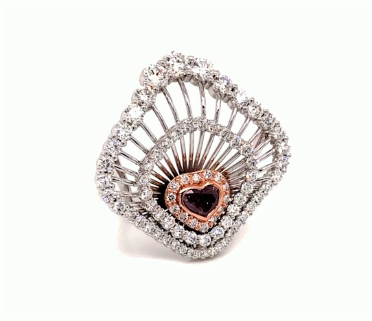 Lady's 0.99ct Fancy Pink-Purple Diamond Ring (4.24ct TW)