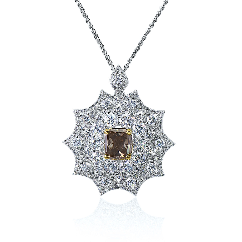 3.00ct Fancy Intense Grayish Yellowish Green Diamond Pendant (7.97ct TW)