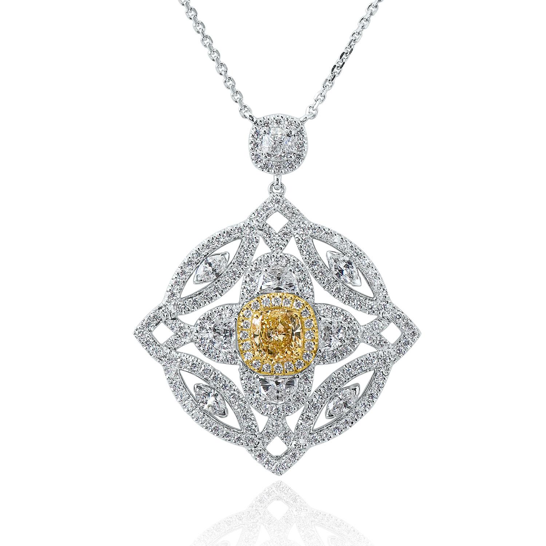 Internally Flawless 1.72ct Fancy Intense Yellow Diamond Pendant (5.52ct TW)