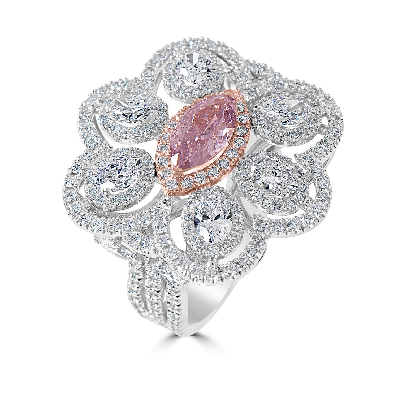 Lady's 1.08ct Fancy Pink-Purple Diamond Ring (4.79ct TW)