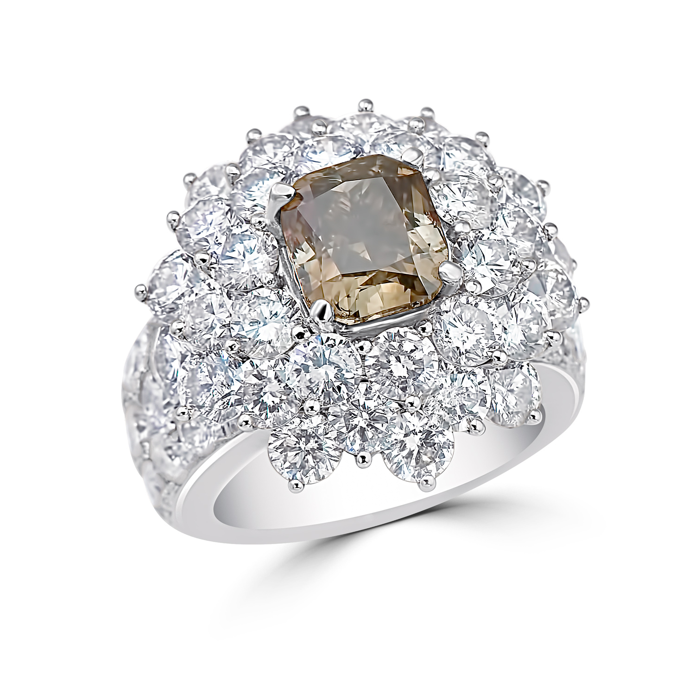 Lady's 3.52ct Fancy Intense Brownish Yellow Green Diamond Ring (13.02ct TW)