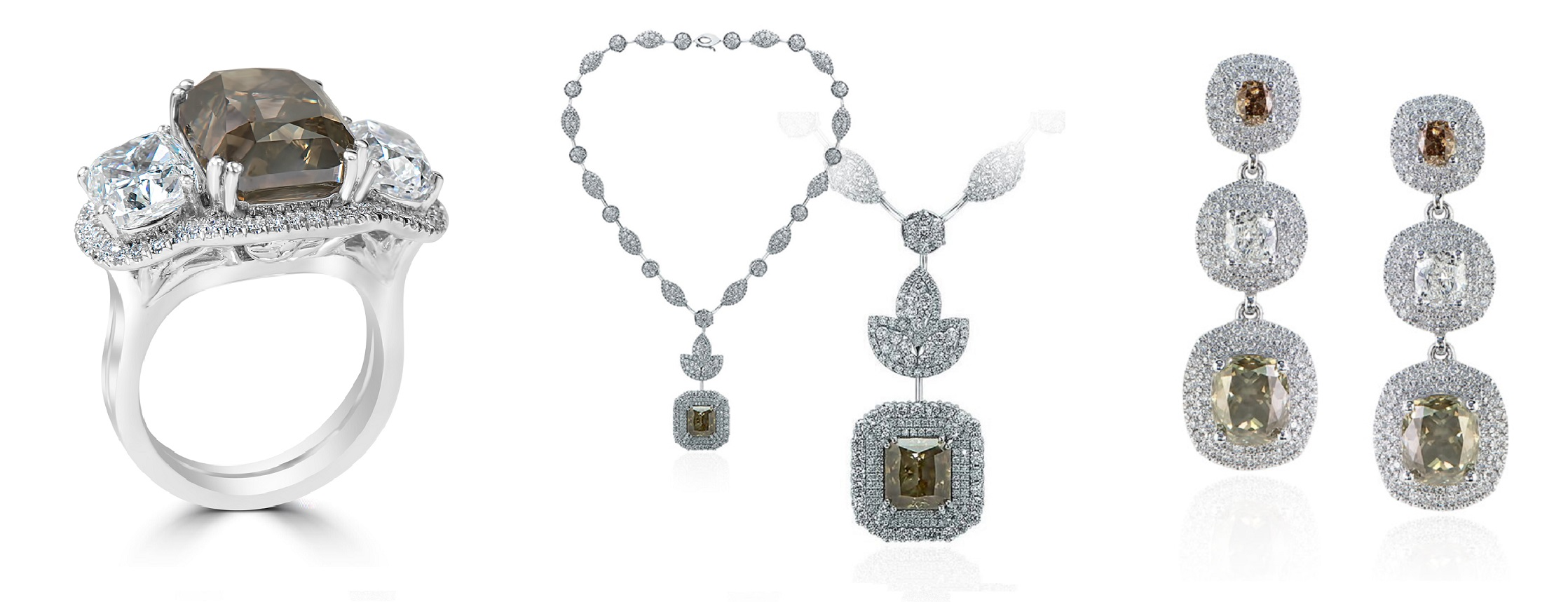 Mixed Green & Brown Diamond Ring, Necklace & Earrings Set (75.08ct TW)