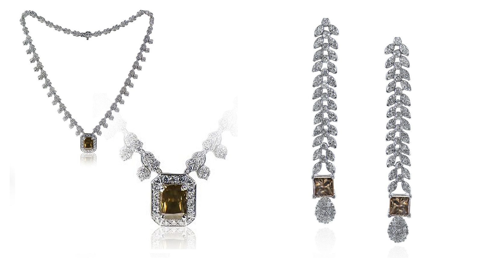 Mixed Brownish Green Diamond Necklace & Earrings Set (27.82ct TW)