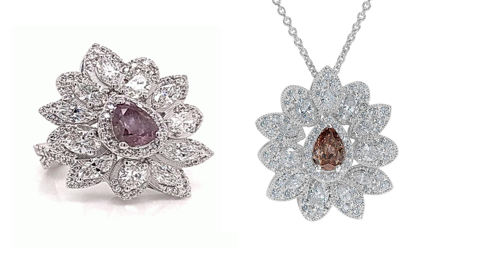Mixed Pink Diamond Ring & Pendant Set (6.76ct TW)