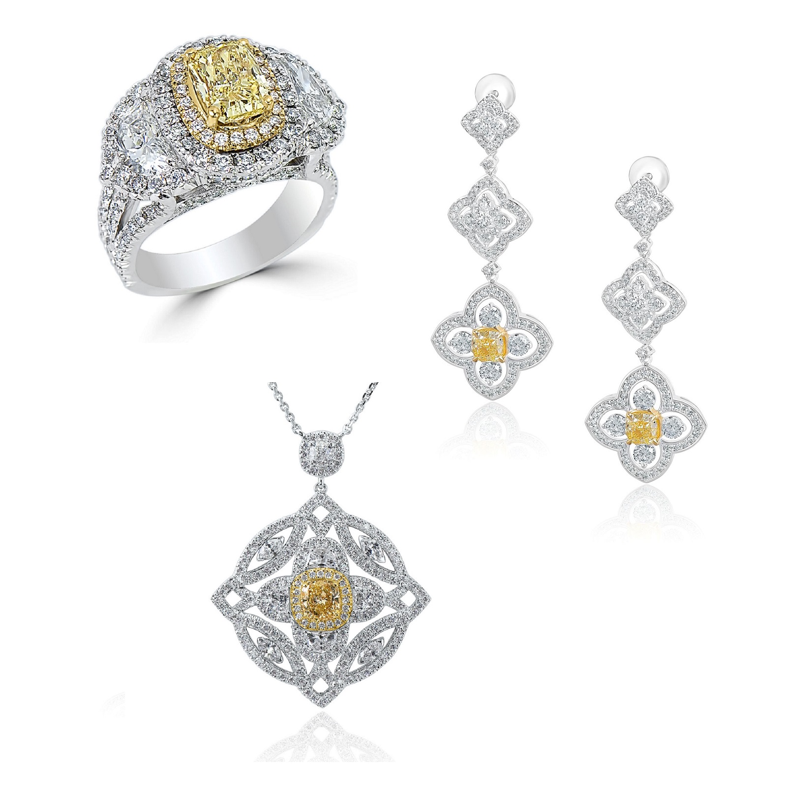 IF Fancy & Fancy Intense Yellow Diamond Ring, Pendant & Earrings Set (16.70ct TW)
