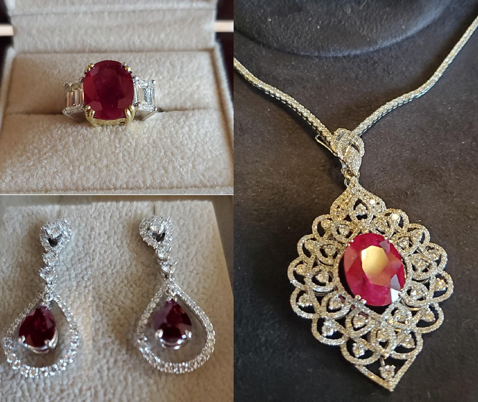 Mixed Ruby & Diamond Ring, Pendant & Earring Set
