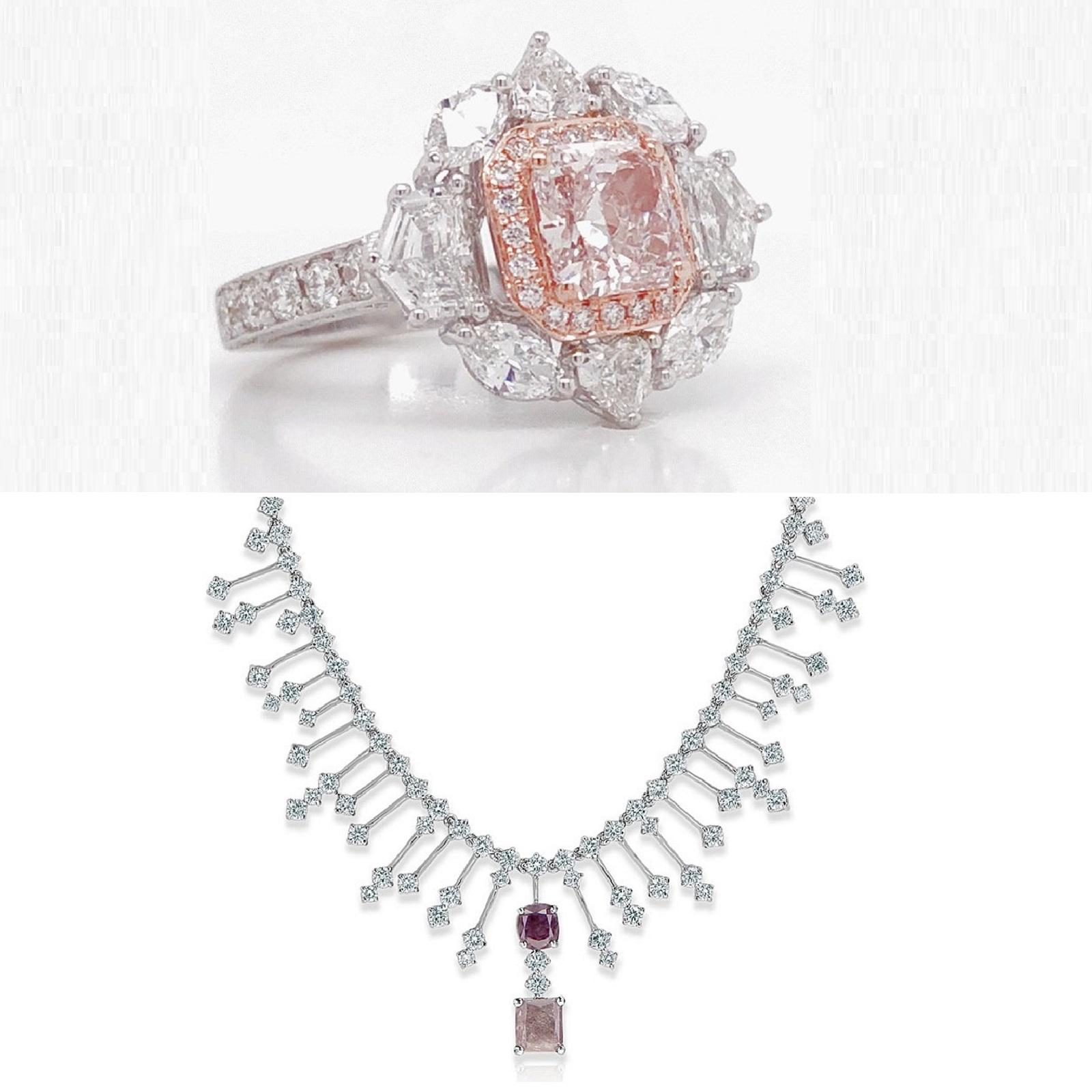 Mixed IF & Light Brownish Pink Diamond Ring & Pendant Set (14.59ct TW)