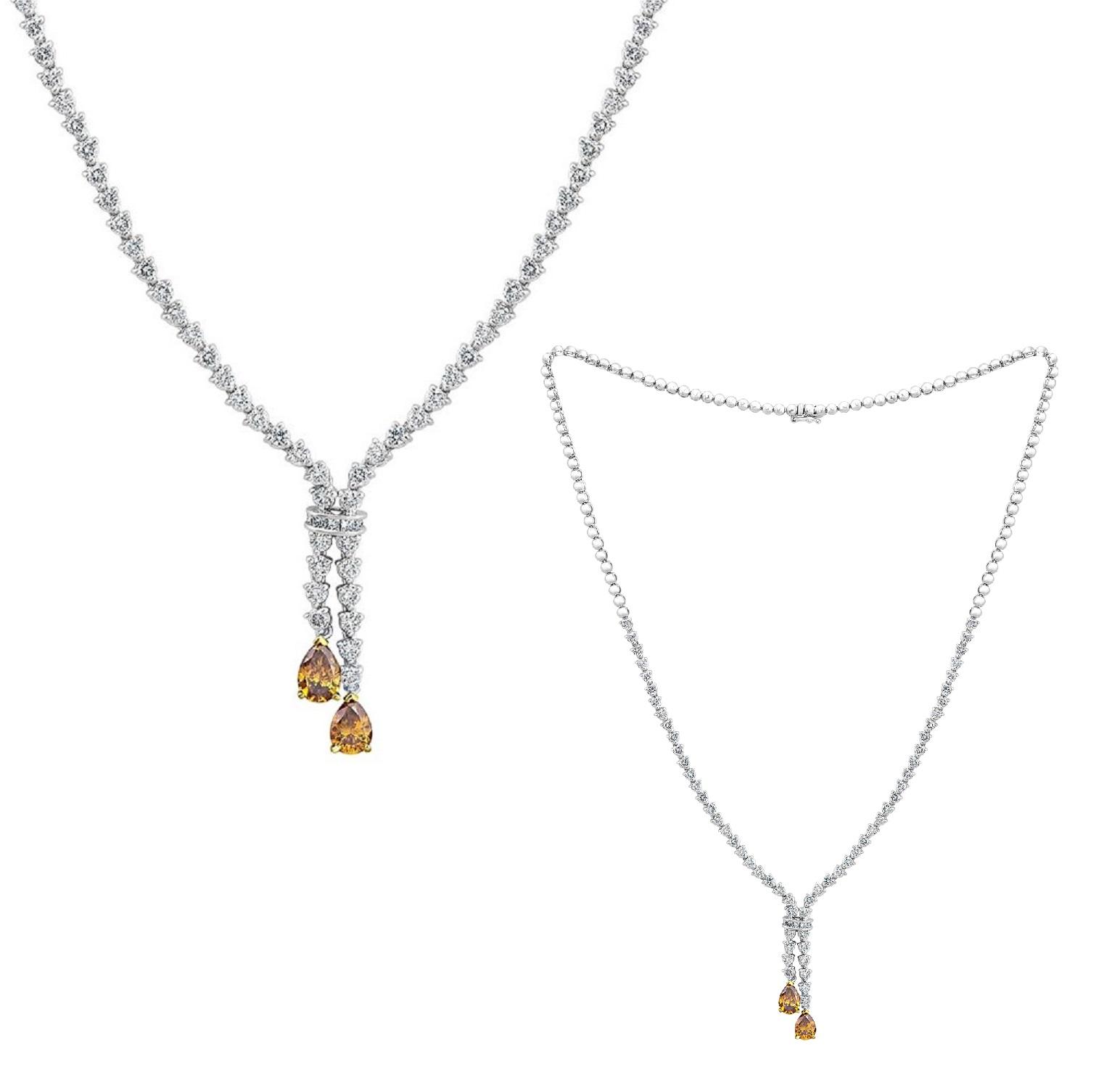 1.30ct TW Fancy Intense Yellowish Orange Diamond Necklace (4.90ct TW)