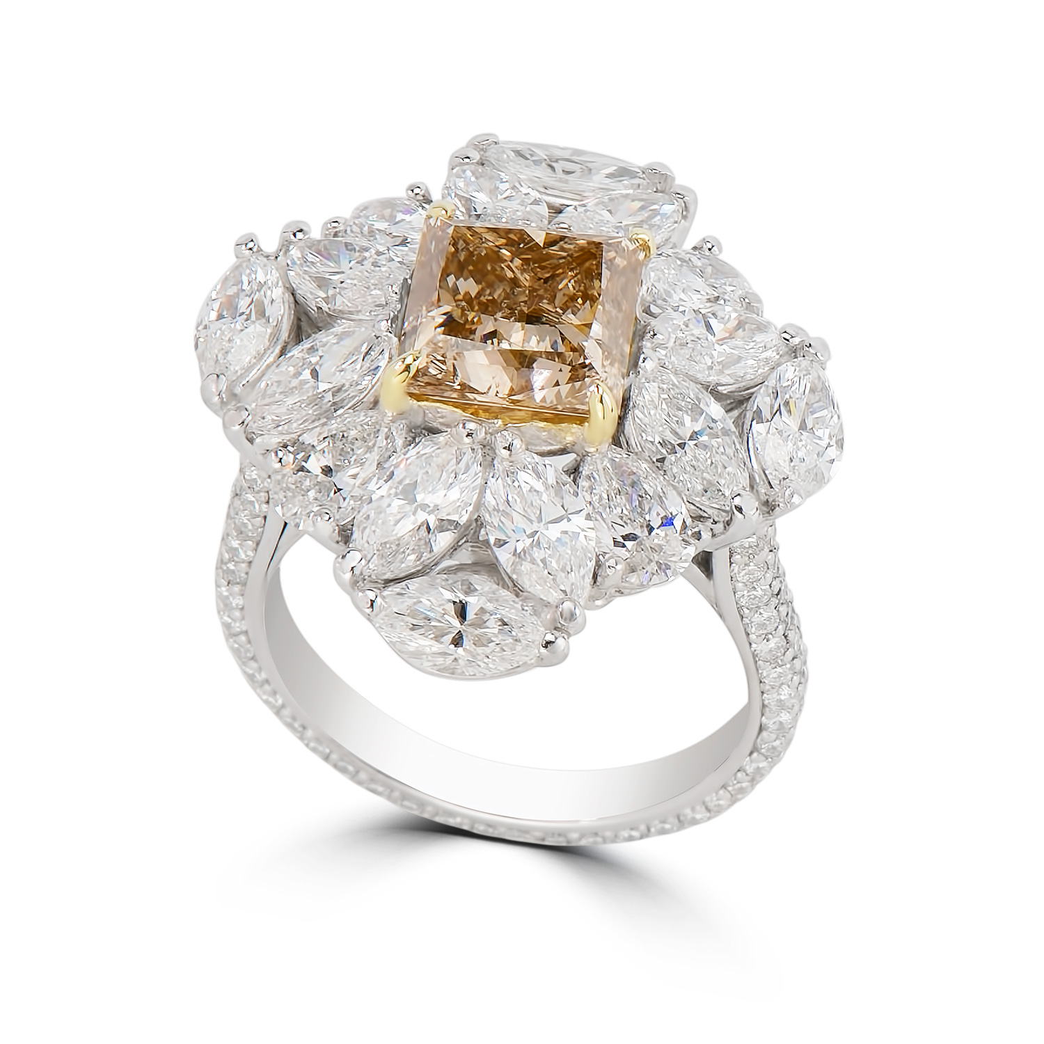 Lady's 3.04ct Fancy Brown-Yellow Diamond Ring (8.80ct TW)