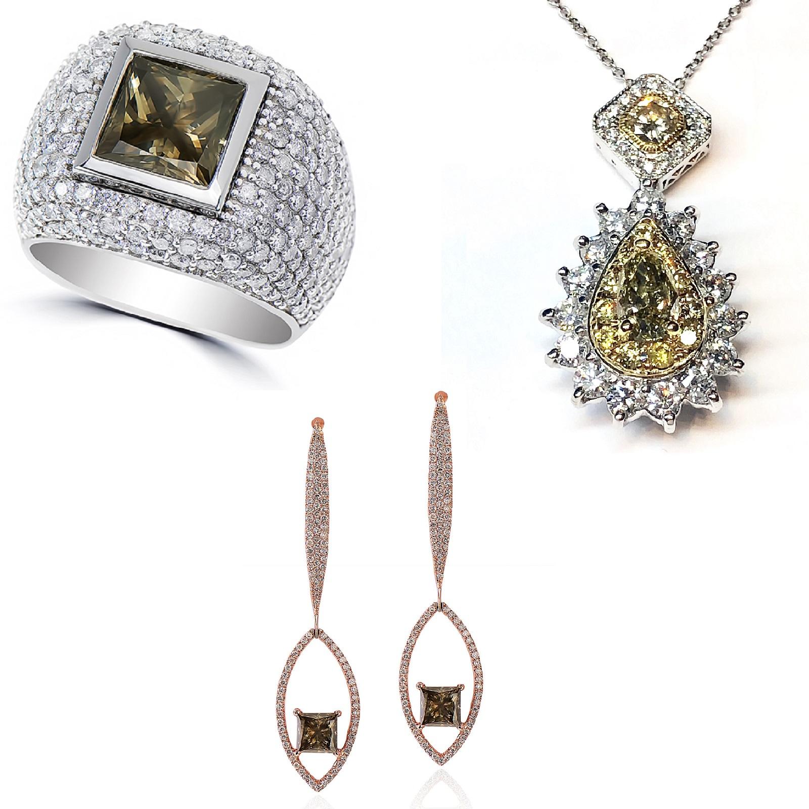 Mixed Brownish Green Diamonds Ring, Pendant & Earrings Set (14.96ct TW)