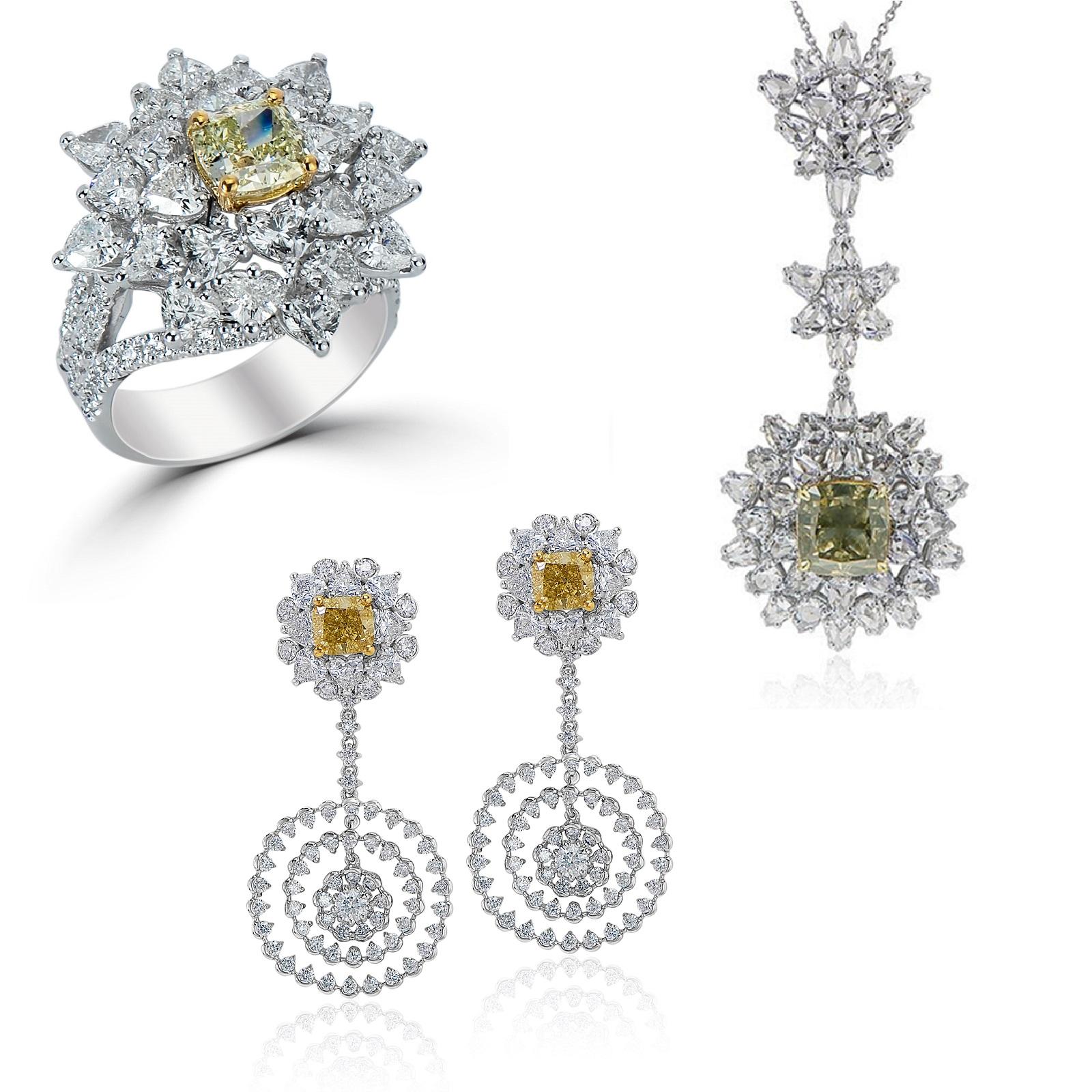Mixed Yellow & Green Diamond Ring, Pendant & Earrings Set (25.98ct TW)