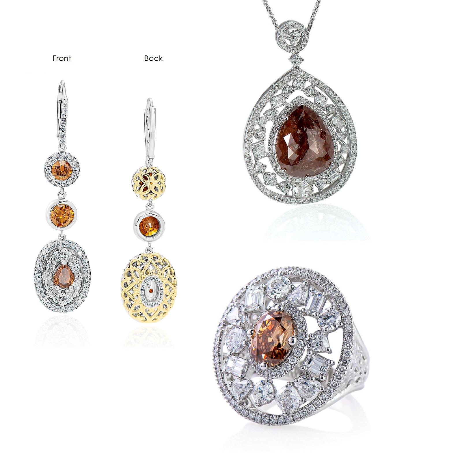Mixed Brown & Orange Diamond Ring, Pendant & Earrings Set (43.13ct TW)