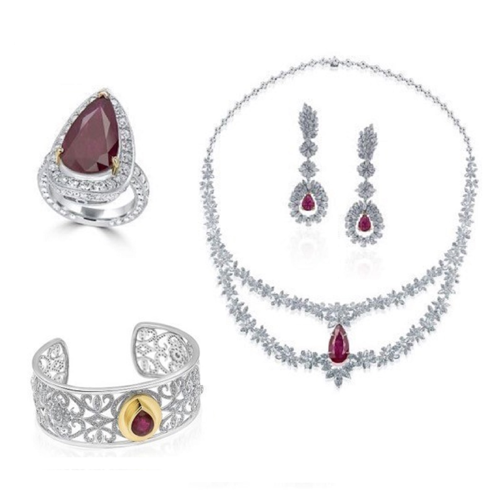 Ruby & Diamond Ring, Necklace, Bracelet & Earrings Set (Ruby Weight – 29.91 carats)