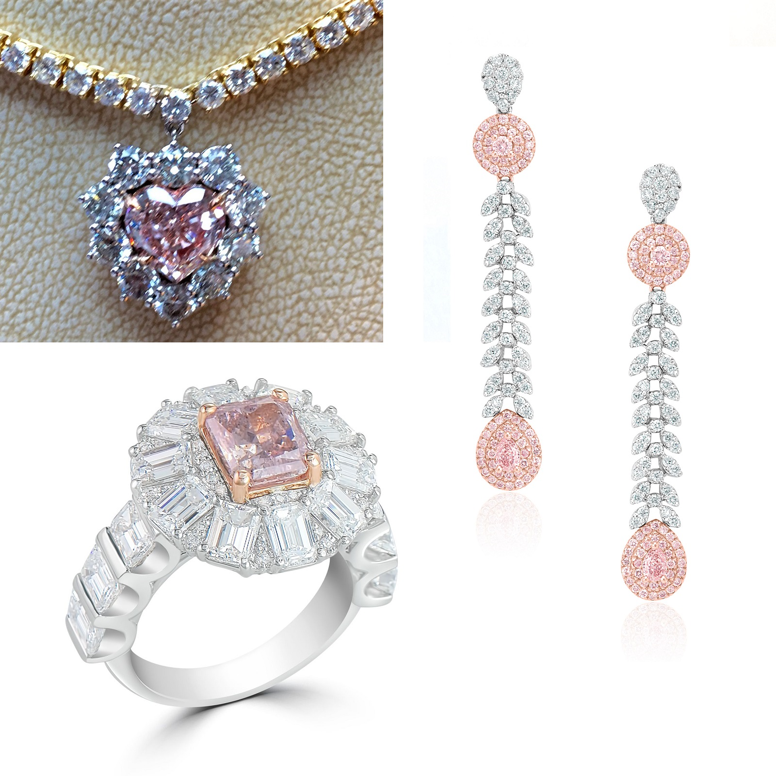 Mixed Pink Diamond Ring, Pendant & Earrings Set (25.64ct TW)