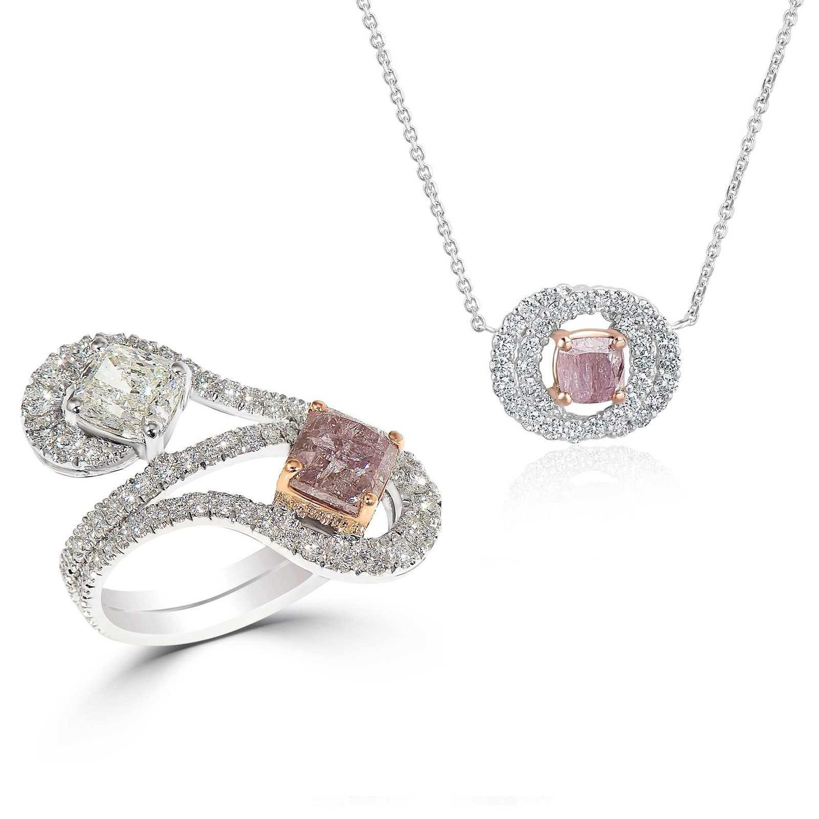 Mixed Brownish Purplish Pink Diamond Ring & Pendant Set (6.50ct TW)