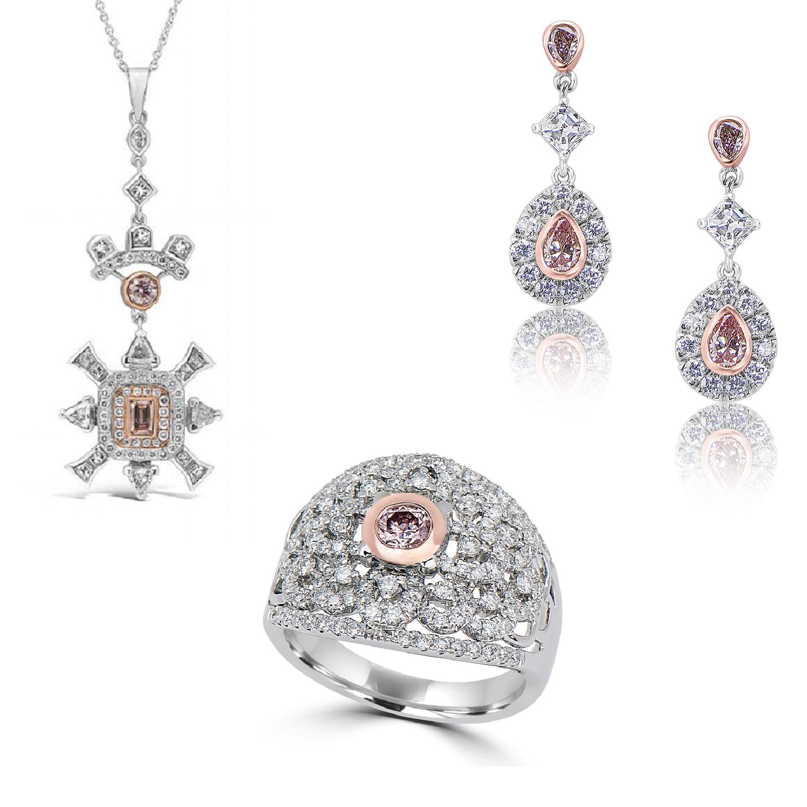Mixed Argyle Pink Diamonds Ring, Pendant & Earrings Set (4.90ct TW)