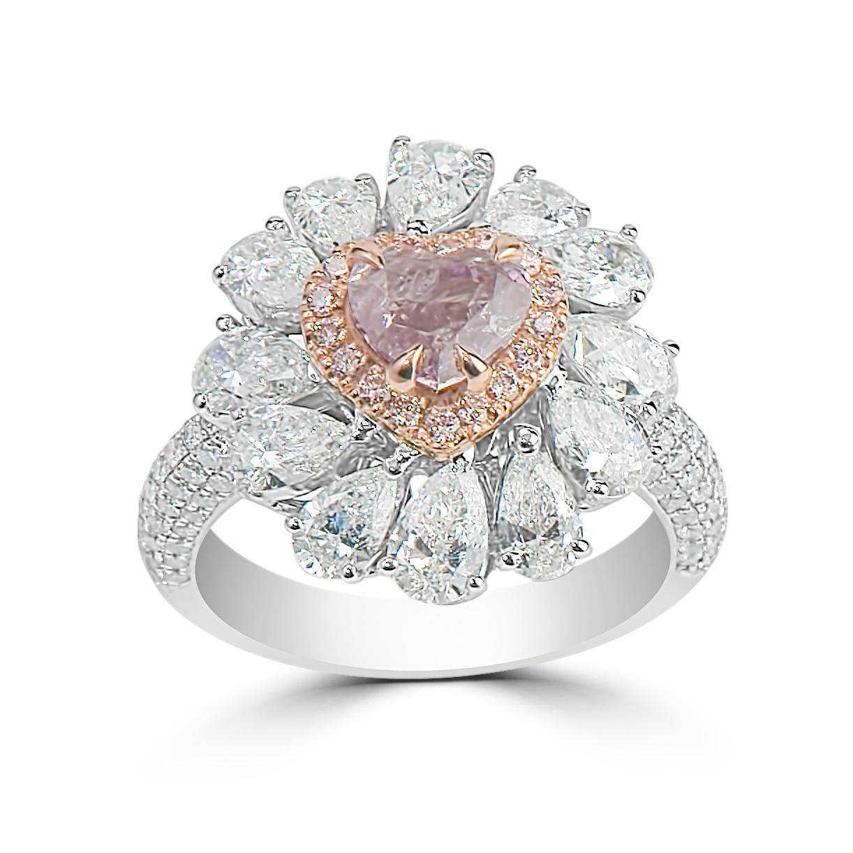 Lady's 1.02ct Fancy Brownish Pink Diamond Ring (4.02ct TW)