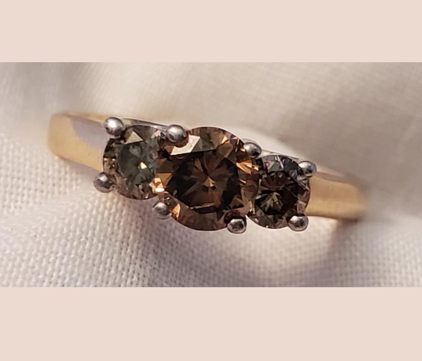 Lady's 0.67ct Fancy Intense Yellowish Brown Diamond Ring
