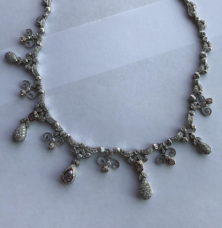 Mixed Purple, Pink & Argyle Diamond Necklace (9.74ct TW)